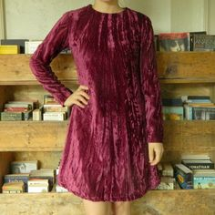 1970s Maroon Crushed Velvet Dress by moonfossil on Etsy