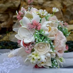 Wedding bouquet Rebeca  and boutonniere by Marcellinewedding on Etsy