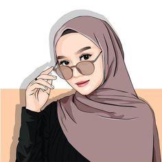 Wallpaper Hp, Cute Girl Wallpaper, Cute Cartoon Wallpapers, Cartoon Images, Girl Cartoon, Cartoon Art, Portrait Vector, Hijab Drawing, Islamic Cartoon