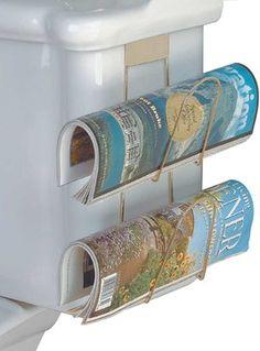 Brass Double Newspaper Holder transitional-magazine-racks