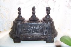 Rare 3 slot Inkwell heavy Solid Bronze Victorian Peacock Inkwell