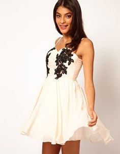Opulence England Chiffon Bandeau Lace Trim Dress