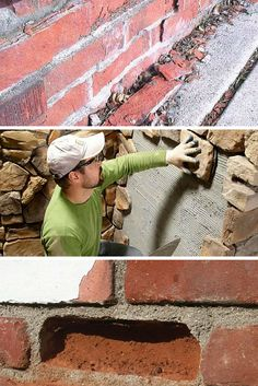 Masonry: Learn how to build with brick, concrete and stone to develop your masonry skills. Outdoor Projects, Home Projects, Concrete Projects, Brick Laying, Concrete Bricks, Construction, Brick And Stone, Home Repairs, Diy Home Improvement