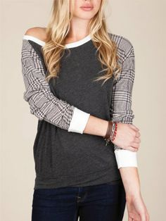 slouchy printed long sleeve pullover by Alternative!