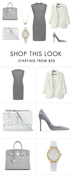 """Base set_monochrome"" by grinok on Polyvore featuring мода, Alexander Wang, Yves Saint Laurent, Gianvito Rossi, Hermès, Vivani и Louis Vuitton"