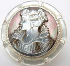 Vintage Victorian Mother of Pearl Cameo Button