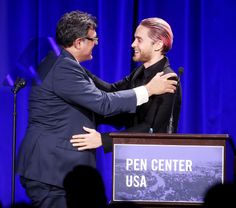 John Kiriakou and Jared at the First Amendment Award from Jared Leto at the PEN Center USA's 25th Annual Literacy Awards Festival