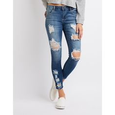 Cello Destroyed Skinny Jeans (£27) ❤ liked on Polyvore featuring jeans, indigo, frayed denim jeans, denim jeans, mid rise skinny jeans, destroyed skinny jeans and super skinny ripped jeans