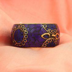 Bollywood Indian Purple Blue Floral GoldTone Jewelry Bangles Bracelet Sizes 2-4 #DesaiJewellers #Bangle