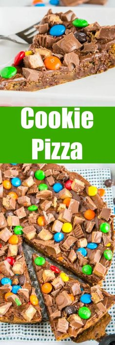 Chocolate Chip Cookie Pizza - A dessert pizza with a chocolate chip cookie base. Topped with all your favorite chocolate candies for an over the top, but super simple dessert! Chocolate Chip Cookie Pizza, Chocolate Chip Shortbread Cookies, Toffee Cookies, Chocolate Candies, Yummy Cookies, Chocolate Recipes, Dessert Chocolate, Ginger Cookies, Bar Cookies