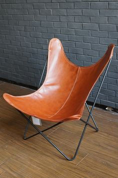 SFH- CE Butterfly Chair Brown Leather  Also available in Black Fabric seat Cover