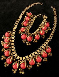 Demi-Parure: 1930s Miriam Haskell Set, Red Glass Book chain Necklace and Bracelet w/Dangles | eBay