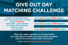 Email header design for donation matching campaign at Fenway Health.