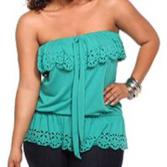Eye lite lace top in Turquoise