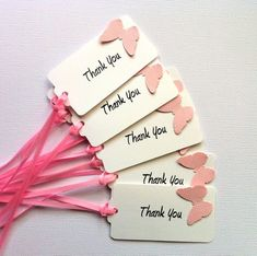 Thank You Butterfly gift tags with ribbons. Butterfly Birthday Party, Diy Birthday, Baby Shower Gift Bags, Diy And Crafts, Paper Crafts, Butterfly Gifts, Handmade Gift Tags, Paper Tags, Card Tags