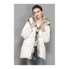 Fitaylor Winter Jacket Women Hooded Parka Rabbit Fur Coat Loose White Duck Down Warm Snow Wear Thick Overcoats