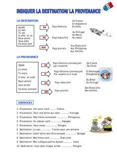 Indiquer la destination et la provenance French Verbs, French Grammar, French Phrases, French Expressions, French Language Lessons, French Language Learning, Spanish Lessons, Dual Language, French Flashcards