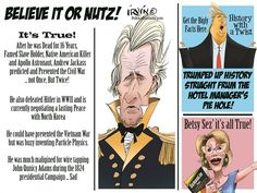 Trevor Irvin -  PoliticalCartoons.com - History of Andrew Jackson - English - Andrew Jackson, History, Trump, Lies, Fake News, Andrew, Jackson, Presidents, Presidential History, Facts, Alternative Facts
