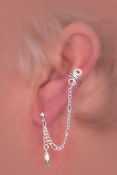 Silver plated ear cuff pair with chain and by thelazyleopard, $15.00