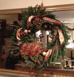 Fresh wreath on mirror behind bar...I'm so talented!