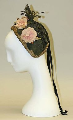Victorian fashion accessories, headwear, millinery: Bonnet (1880s) decorated with flowers, pink roses.