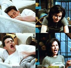 FRIENDS - Chandler and Monica. Why must everybody watch me sleep?! There'll be no more watching me sleep!! Uhpa!