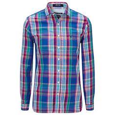 Buy Gant Malibu Check Long Sleeve Shirt, Luminary Blue Online at johnlewis.com