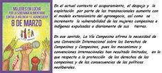 Mujeres en lucha x Soberanía Alimentaria, contra la violencia y el agronegocio, #DíadelaMujer http://www.tercerainformacion.es/spip.php?article82468…