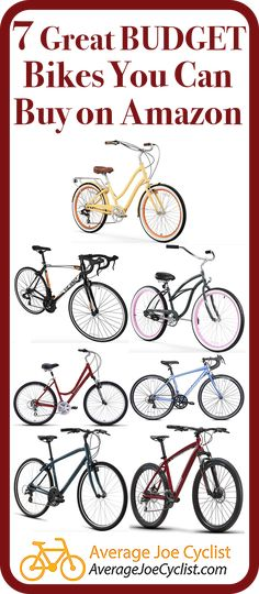 Reviews, comparative chart, and videos to tell you all about 7 great budget bikes you can buy on Amazon, including Cruisers, Mountain bikes, Hybrid bikes, Road Bikes, and Comfort Bikes. Take advantage of Amazon's excellent delivery and return policies! Some reputable brand name bikes are available on Amazon, so there are some great options available. Post includes Pro Tips on how to buy bikes from Amazon. #AverageJoeCyclist #Amazon #BuyingBikes #cyclists #cycling Cycling Tips, Cycling Workout, Bicycle Crafts, Hybrid Bikes, Buy Bicycle, Bike Reviews, Bike Wheel, Cyclists, Training Plan