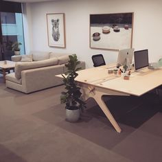 📷 of a Lean Desk designed in London and made in Melbourne by the lovely Power to Make for Northmost Studio :) →  Leaning Desk, Melbourne, Plywood Design, Self Storage, Cnc Projects, Industrial Office, Studio, London, Office Desk