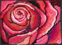 a traditional hooked rose by Gail Becker