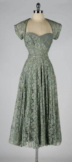 Vintage 1940's Sage Green Lace Cocktail Dress