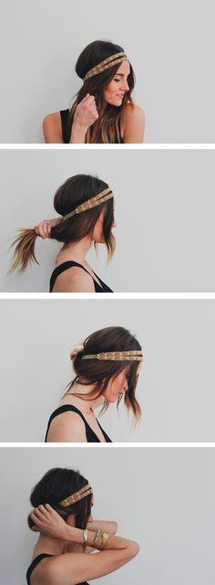 headbands on curls, treasur, headband hairstyles tutorial, hairstyle tutorials, easy travel hairstyles, headband tuck, headband hair tuck, easy headband hairstyles, prom hairstyle tutorial