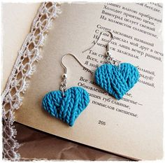 Lovely original earrings - little blue hearts are made of polymer clay. Imitation of knitting is my favorite technique.  Earrings are blue on both sides, the knitting texture is on one side only. * Size of heart 2.5 x 2.5 cm (1 х 1) *Earrings are ready to be shipped and will be beautifully packed.  There are many jewelry and cute brooches in my shop, welcome www.etsy.com/your/shops/IrenkaJanuary  Thank you for visiting