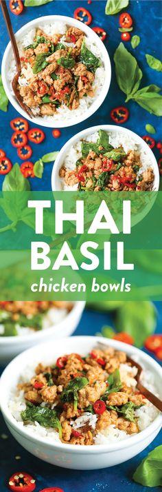 Thai Basil Chicken Bowls - Damn Delicious January 2019 A meal with less than 400 calories per servi. Damn Delicious Recipes, Healthy Recipes, Easy Recipes, Yummy Food, Tapas, Thai Basil Chicken, Asian Cooking, Thai Cooking, Asian Recipes