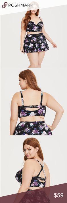 bdf4bffa699 Torrid Black Floral Underwire Bikini Top sz 1x Torrid Black Floral Lightly  Lined Underwire Bikini Top