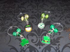 Handmade St Patrick's Day Wine Glass Charms by OurBeadedCharms, $7.50
