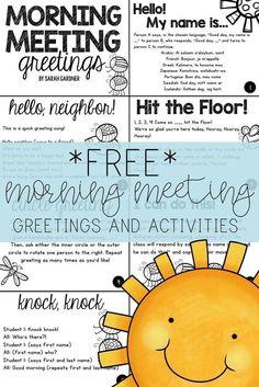 Morning Meeting Greetings & Activities FREEBIE!