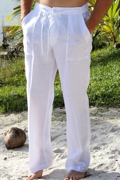Men's Linen Flat Front Relaxed Fit Drawstring Casual Pants (3) New Colors (MLP19-P2) White