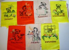 Vintage Embroidered Tea TowelsKittensDays of the Week by linbot1