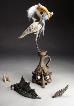 Mitchell Grafton - Bird with Fish - Hidden Ridge Gallery