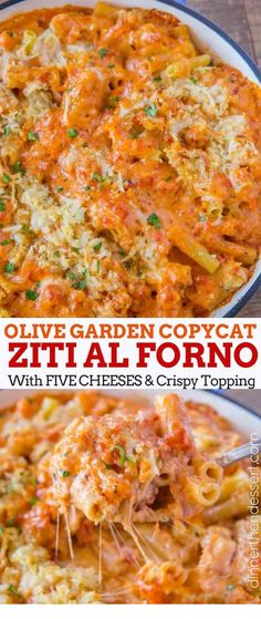 Cool Olive Garden Five Cheese Ziti al Forno copycat recipe made with marinara, alfredo, mozzarella, fontina, romano and parmesan cheese baked together with a cripy panko topping. The post Olive Garden Five Cheese Ziti al Forno copyc . Olive Garden Pasta, Olive Garden Recipes, Copycat Olive Garden Alfredo, Olive Recipes, Top Recipes, Free Recipes, Easy Pasta Recipes, Easy Meals, Pasta Ideas