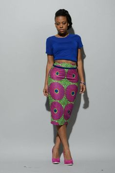 African print pencil skirt pink/green by RAHYMA on Etsy