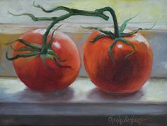 Two large and bright red tomatoes are placed on a window sill in this painting. They are painted in a backlit tradition and the colors from the light bounce around from the tomatoes to one another and the sill. This painting (wall art) would brighten any kitchen or dining area decor. 9x12 Wrap Around Canvas Edges of canvas painted black, unframed, but can be hung without framing. Hanging hardware is installed on the back.