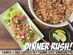 Dinner Rush! Farro + Red Lentils with Tahini-Soy Vinaigrette