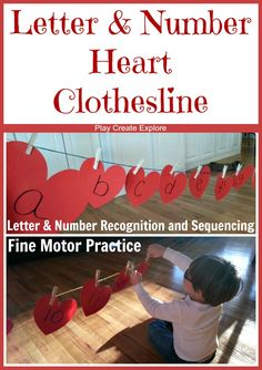 Letter & Number Heart Clothesline. A fun way to practice Letter & Number Recognition, with fine motor work as well!