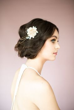 TAYLOR Rose Gold Floral Chain Wedding by BlairNadeauMillinery