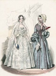 How We Do Run On: The Puzzle of the Puffed Sleeves: What Scarlett's Wedding Dress Should Have Looked Like April 1844. Le Follet