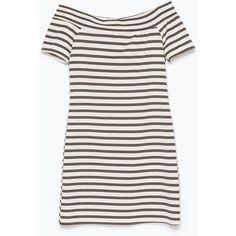 Zara Off-Shoulder Dress (1.005 RUB) ❤ liked on Polyvore featuring dresses, vestidos, stripe, travel, travel dress, off shoulder dress, striped dress, white dress and white off the shoulder dress