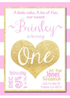Pink and Gold Birthday Party Invitation Invite For ANY Age or First Birthday Gold Glitter Pink and White Stripes